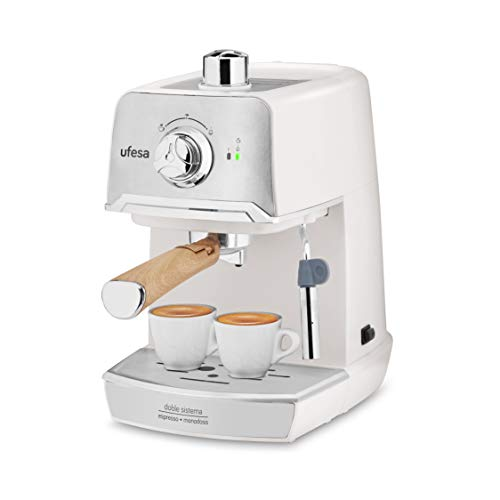 Ufesa CE7238 CREAM Macchina Caffè Espresso per Cappuccino e Infusi, Pressione da 20 bar, Potenza 850 W, Sistema con Caffè Macinato o Cialde, Portafiltro Metallico, Vassoio Scaldatazza