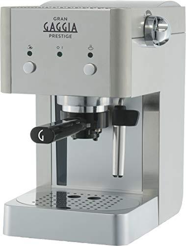 Gaggia RI8427 11 GranGaggia Prestige - Macchina da Caffè Espresso Manuale, per Macinato e Cialde, Argento
