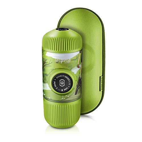WACACO Nanopresso Macchina Espresso Portatile in bundle con Custodia Protettiva, Versione di Aggiornamento di Minipresso, Macchina Caffe Portatile, Manuale Azionato (Nanopresso Journey Spring Run)