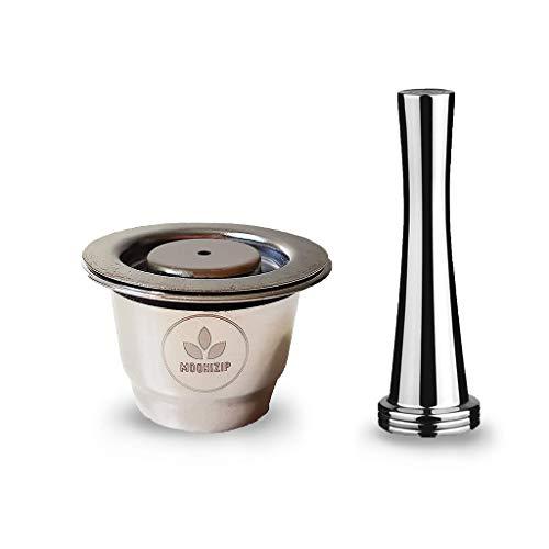 Moonizip ZERO - Capsules de café en acier inoxydable rechargeables pour Nespresso (1 capsule + 1 tasse) + Ebook gratuit