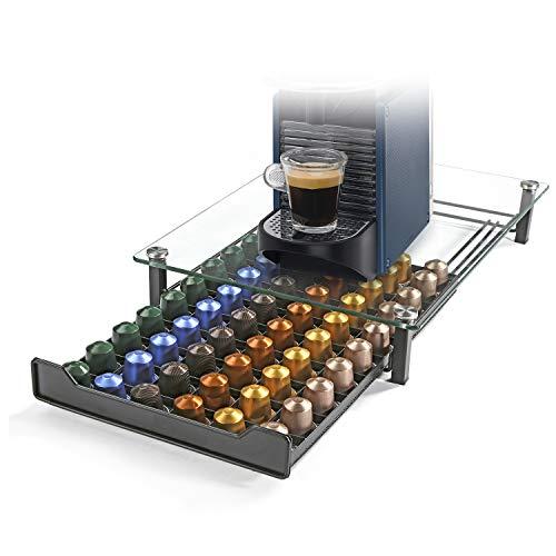 HiveNets Nespresso Porte-capsule à café Porte-capsule Porte-capsule en métal Verre trempé pour 60 pcs
