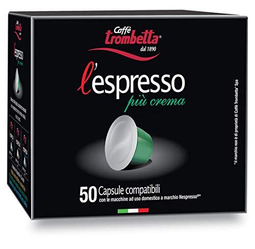 Trombetta l'Espresso Capsules Nespresso Compatible Café, Plus Crema, 50 Capsules
