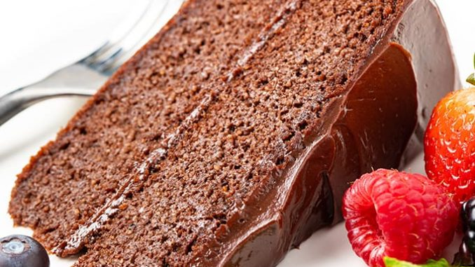 slice of chocolate keto cake with berries Detail: the-best-keto-chocolate-cake-recipe-3