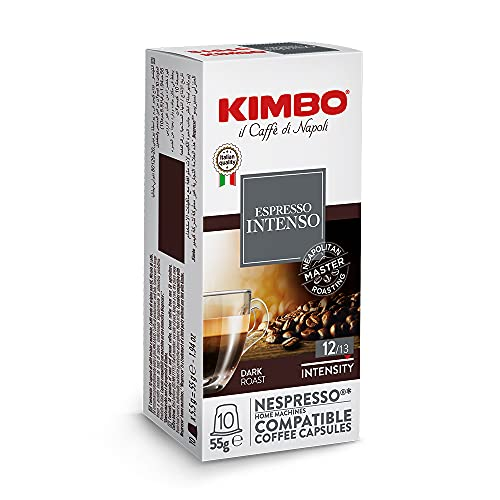 Kimbo Intenso - Capsules Café Compatibles Nespresso, Intensité 12/12, 10 Boîtes de 10 Capsules (Total 100 Capsules)