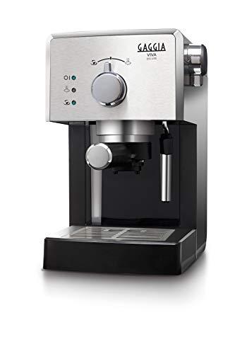 Gaggia RI8435 11 Viva Deluxe - Machine à café expresso manuelle, pour café moulu et dosettes, 1025W, 1L, Noir Argent