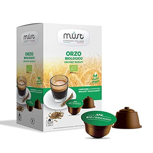 MUST 96 Capsules de café d'ORZO BIO Auto-protégé en plastique 100% Recyclable Mélange organique pack de 16 Capsules dans 6 packs compatibles avec la machine Dolce Gusto Pods Fabriqué en Italie
