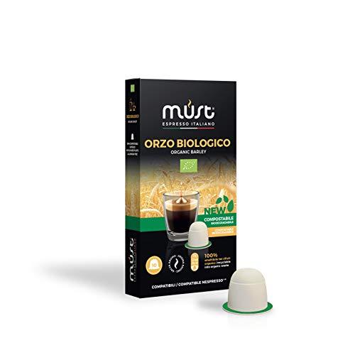 MUST 100 Capsules de Café d'ORGE Bio 100% Compostable, mélange de café d'orge pack de 10 Capsules pour 10 packs compatibles avec les dosettes de machine Nespresso Fabriqué en Italie