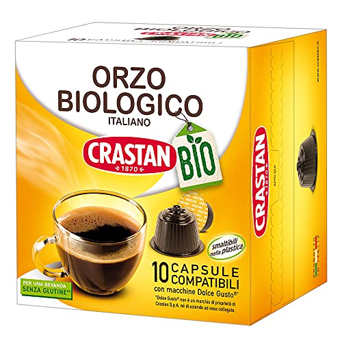 Crastan Dolce Gusto Capsules Compatibles Orge issu de l'Agriculture Biologique - Pack de 10 Capsules