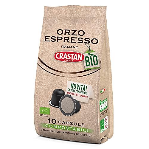 Capsules Compostables Compatibles Crastan Nespresso - Orge Biologique - 10 Paquets de 10 Capsules (100 Capsules)