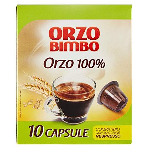 OrzoBimbo Capsules Only Orge 100% - Compatible avec les Machines Nespresso, Pack de 10 Capsules Monodose