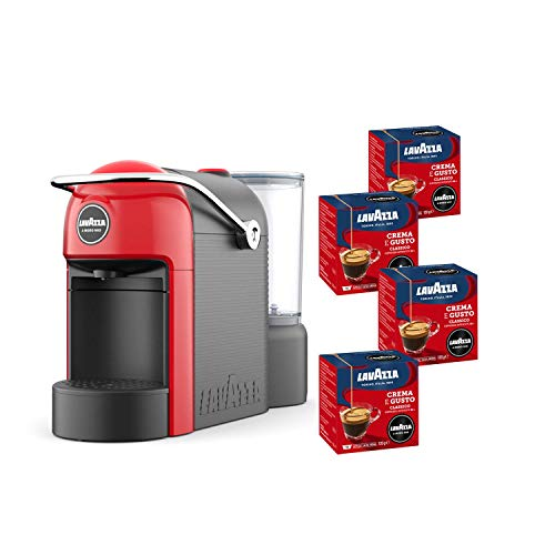 Lavazza A Modo Mio, Jolie Machine à Café Espresso Avec 64 Capsules Crema e Gusto Incluses, Machine À Capsules Pour Café À La Maison Comme Au Bar, 1250 W, 0,6 Litres, Couleur Rouge