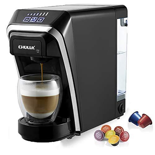 CHULUX Macchina da caffè a capsule 1400 W da 50 ml a 260 ml Serbatoio dell acqua removibile da 0,8 L con Nespresso e Dolce Gusto Macchina a capsule multifunzionale per l ufficio Schwarz