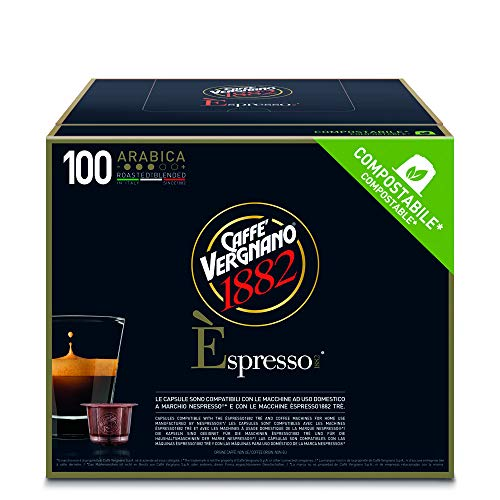 Caffè Vergnano 1882 Èspresso Compostable Capsules Café Arabica, Compatible avec les machines Nespresso et èspresso1882 trè, Pack de 100 Capsules