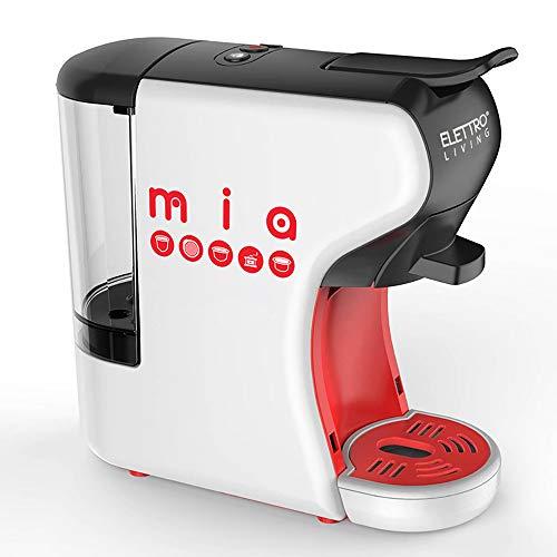 Elettro Living Mia - Machine à expresso multicompatible, Mia pour tous les types de café, blanc-rouge-noir, 31,5x14x29,5 cm-700ml