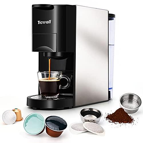 Machine à café 4 en 1, TECHWELL Essential, multifonction, mini machine à café Nespresso volume de café automatique, 1450 W, 19 bar, réservoir d'eau de 0,8 L