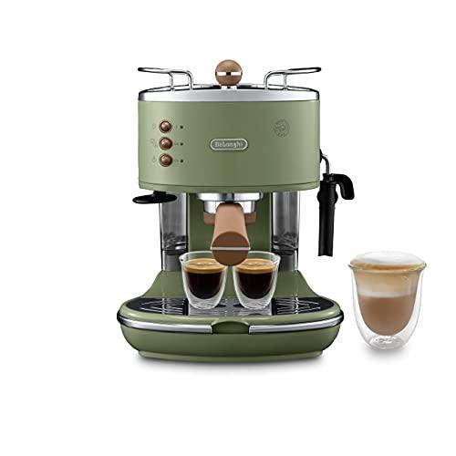 De Longhi Vintage Icon ECOV311.GR Machine à expresso et cappuccino manuelle, café en poudre ou dosettes E.S.E., 1100 W, vert