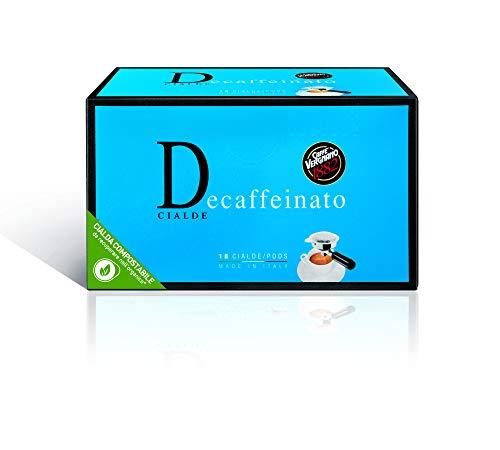 Caffè Vergnano 1882 Cialde Caffè Decaffeinato per macchina cialde ESE caffè da casa, 6 confezioni da 18 cialde, filtro in carta (totale 108)