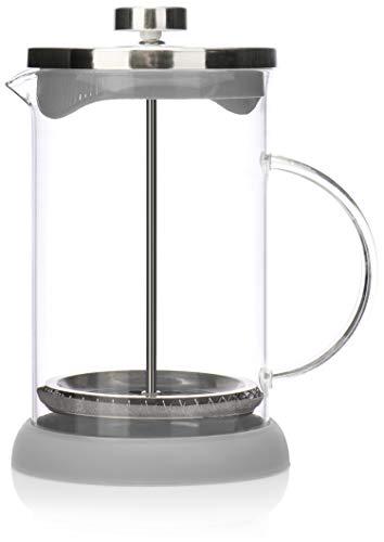 COM-FOUR Macchina da caffè con sistema French-Press - La macchina da caffè funge anche da macchina da tè - macchina per il caffè con cilindro di vetro (01 pezzi - caffettiera 800 ml grigio)