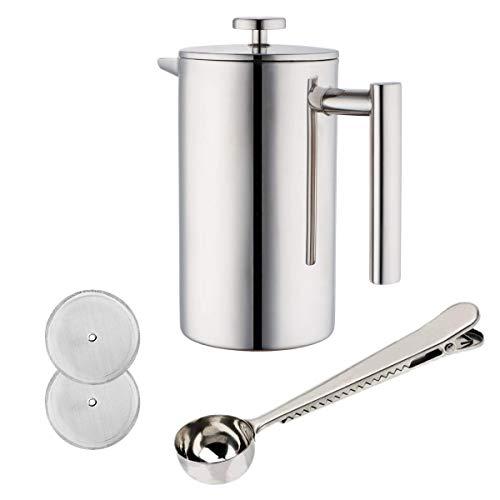 JZK Silver French Press Press Filter Steel 350ml Cafetière en acier inoxydable Presse + 2 x filtres supplémentaires + 1 x tasse à mesurer pour bureau à domicile ou restaurant