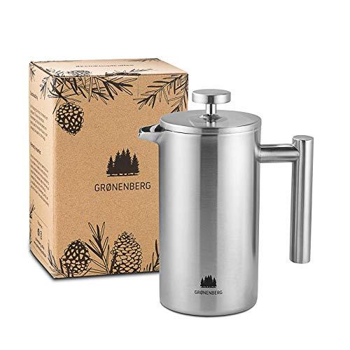 Presse française Groenenberg 600 ml (3 tasses) l Cafetière française en acier inoxydable l Cafetière à piston l Cafetière à filtre presse avec filtres de rechange l Maintient le café au chaud
