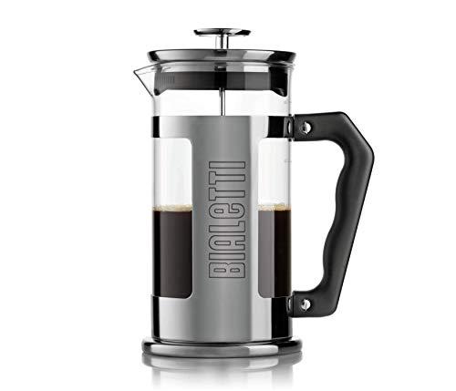Bialetti 0003180 Caffettiera con Pressofiltro (Coffe Press), per caffè, tè e infusi, 350 ml (3 Tazze), 0.35 Litri, Vetro, Acciaio Nero