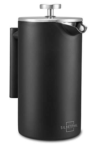 SILBERTHAL Cafetière française 1 litre | Gardez le café chaud | Café à piston en acier inoxydable | Cafetière à piston | Cafetière à piston | Le noir