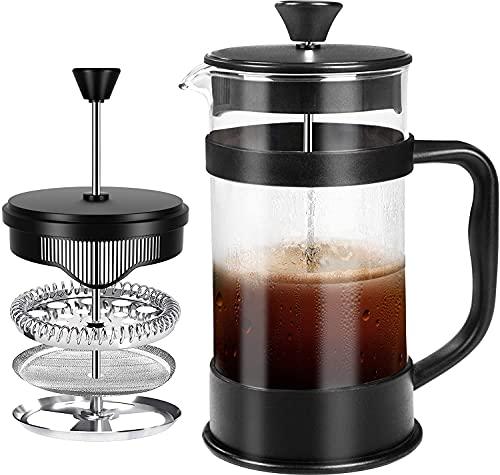 KICHLY - 1 litre 1000 ml (8 tasses) Cafetière presse-filtre (French Press) - Espresso et théière à triple filtres - Verre résistant à la chaleur (Nègre)