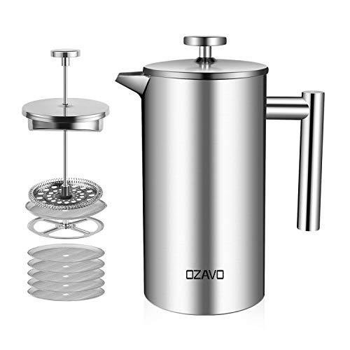 OZAVO Presse à café Cafetière à piston en acier inoxydable Pressofilter Capacité 8 tasses 1 L