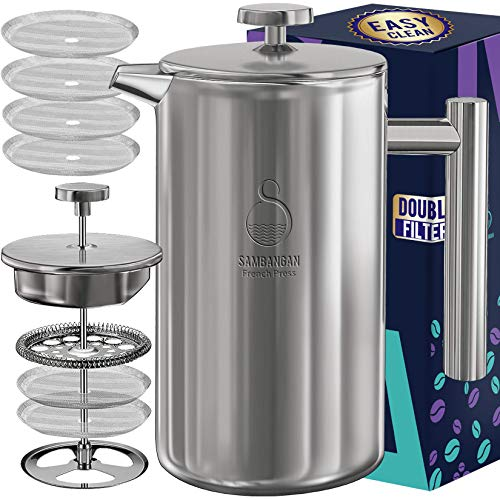 Cafetière à pression française Cafetière en acier inoxydable 34 oz à double paroi isolée en métal avec système de filtre à 4 niveaux, va au lave-vaisselle (1L)