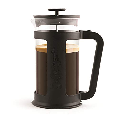 Bialetti Coffee Press Smart 8 tasses (1 litre), Cafetière à filtre presse pour café filtre, infusions et tisanes, Noir