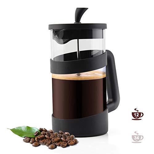RAINBEAN Caffettiera French Press 3 Tazze, Sistema di Filtrazione in Acciaio Inossidabile Vetro Caffettiera Francese, Espresso e teiera con filtri tripli - Vetro resistente al calore