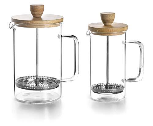 Lacor 62163 - Caffettiera francese Wood, 3 tazze, 0,35 litri, acciaio 18 10